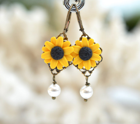Richelle Statement Earrings in Golden Yellow Sunflower With Pearls