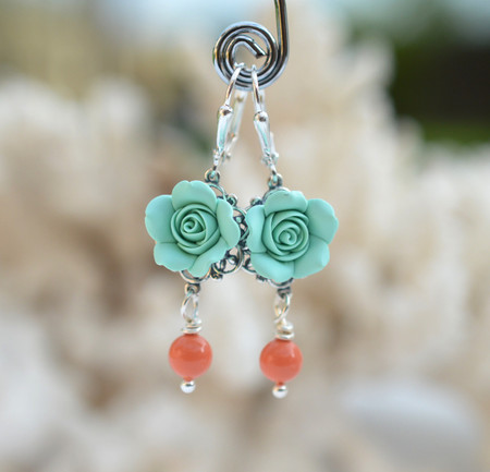 Tamara Statement Earrings in Mint Rose with Coral Pearls.