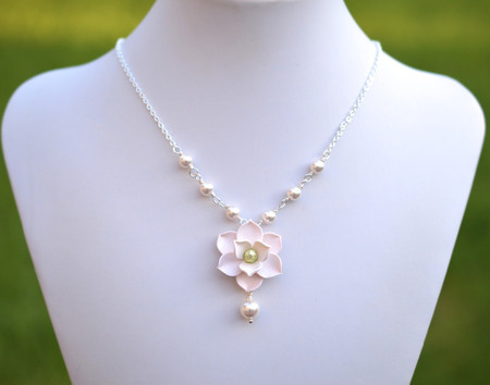 Lexie Centered Necklace in White Magnolia with Pearls