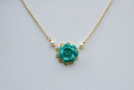 Bradley Delicate Drop Necklace in Mermaid Teal Green Rose