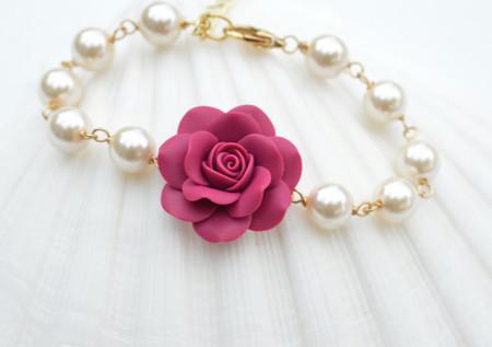Aaliyah Link Bracelet in Magenta Pink Rose