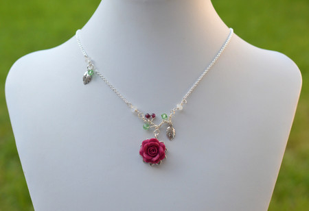 LIMITED EDITION. Drop Necklace in Magenta Pink  Rose