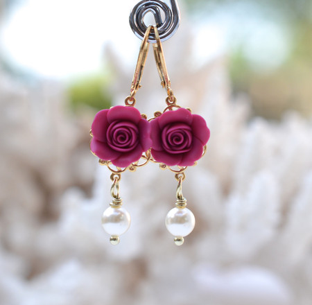Tamara Statement Earrings in Magenta Pink Rose