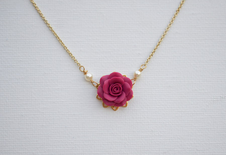 Bradley Delicate Drop Necklace in Magenta Pink Rose