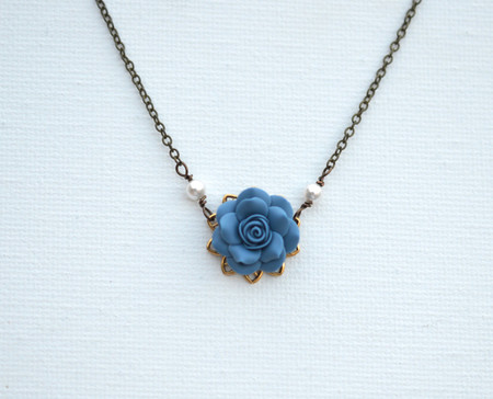 Bradley Delicate Drop Necklace in Dusty Blue Rose