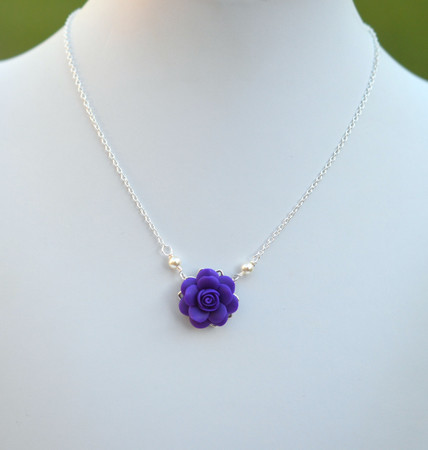 Bradley Delicate Drop Necklace in Deep Purple  Rose