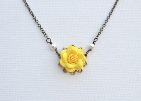 Bradley Delicate Drop Necklace in Sunshine Yellow Rose