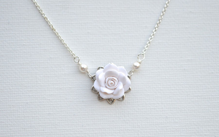 Bradley Delicate Drop Necklace in White Rose