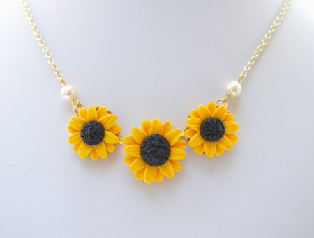 Trio Golden Yellow and Pearls Sunflower Statement  Necklace.