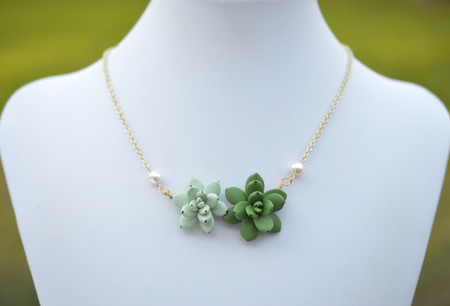 Double Succulent Centered Necklace in Pale Green and Fresh Green