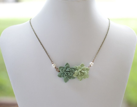 Double Succulent Centered Necklace in Dusty Mint Green and Light Pale Green
