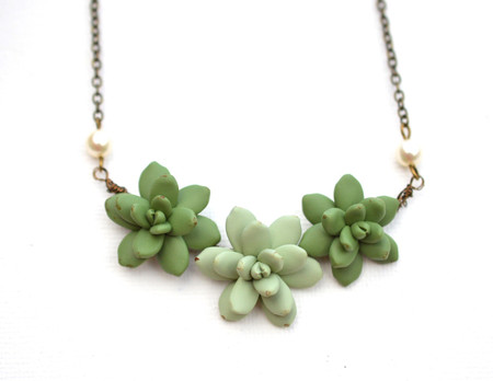 Trio Succulent Centered Necklace in Sage Green and Light pale Green