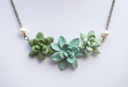 Trio Succulents Centered Necklace in Dusty Mint, Sage Green and Light Pale Green