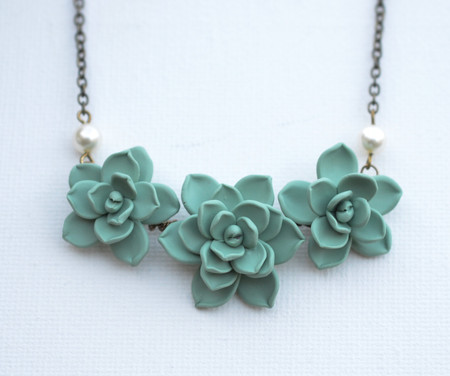 Trio Succulents Centered Necklace in Dusty Mint