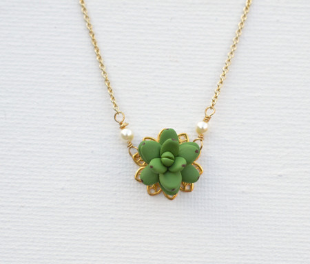 Bradley Delicate Drop Necklace in Fresh Green Succulent-2