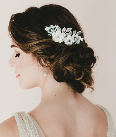 Gena Bridal Hair Comb in White Large Sakura /Cherry Blossom
