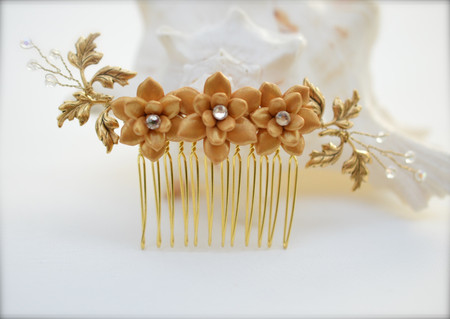 Naomi Bridal Hair Comb in Trio Gold Succulent and Gold Brass Leaves