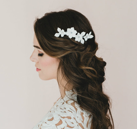 Tori Bridal Hair Comb in White Leaf Flowers and Leaves.