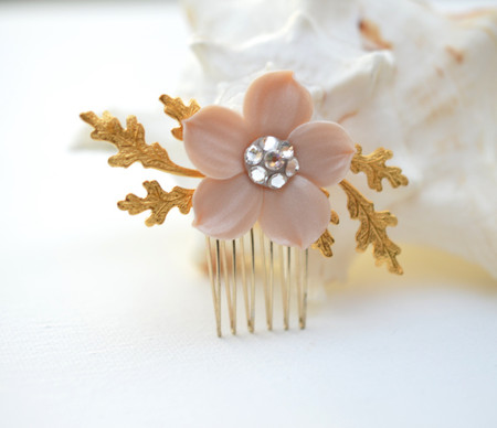 Dee Bridal hair Comb in Nude/Beige Single Petal Cherry Blossom