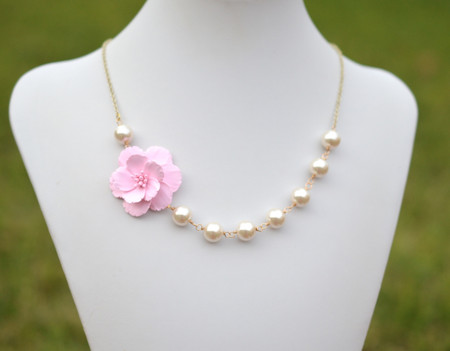 Elisa Asymmetrical Necklace in Pink Sakura Blossom. FREE EARRINGS