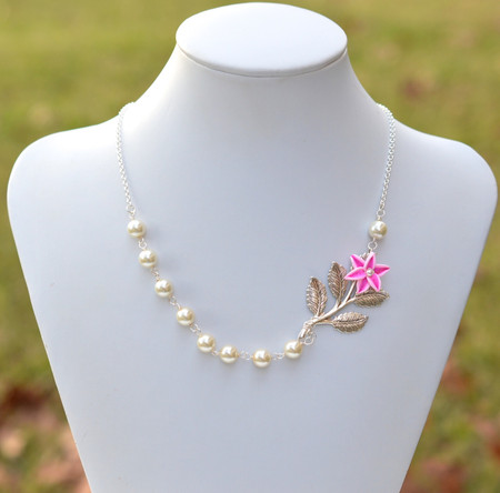 Amira Asymmetrical Necklace in Pink Stargazer Lily and Metal Branch. FREE EARRINGS
