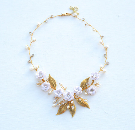 Kay Bridal Vine Necklace in White Cherry Blossom