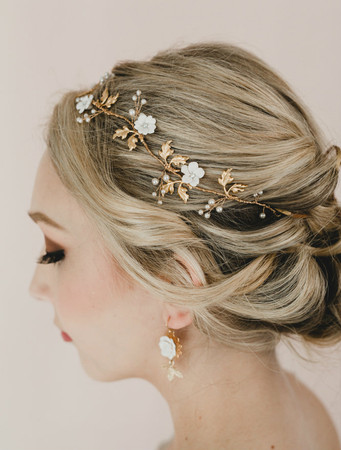 Aya Bridal Hair Vine in White Cherry Blossom/Sakura Blossom with Gold Brass Leaves Hair Vine