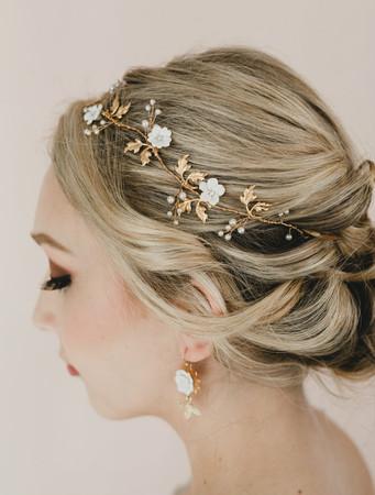 Aya Bridal Hair Vine in White Cherry Blossom/Sakura Blossom with Gold Brass Leaves Hair Vine