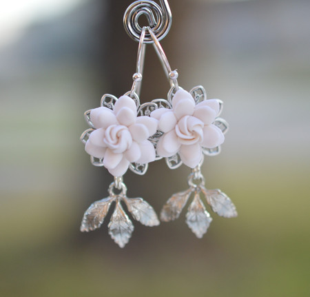 Kate Bridal Statement Earrings in White Gardenia and Brass Leaves