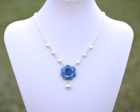 Hannah Centered Necklace in Dusty Blue Rose and Pearls