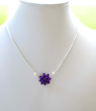 Bradley Delicate Drop Necklace in Deep Purple Dahlia