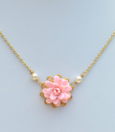 Bradley Delicate Drop Necklace in Blush Pink Dahlia.