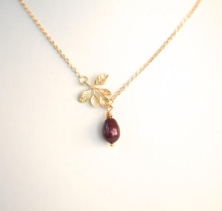 Gold Leaves Branch and Pearl  Necklace
