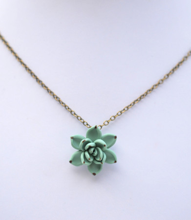 Dusty Mint Simple Drop Necklace
