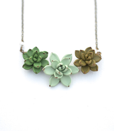 Fresh Green Pale Green and Deep Olive Trio Succulents Centered Necklace