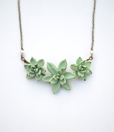 Pale Green Succulent Trio Centered Necklace.