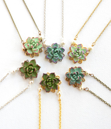 Delicate Succulent Drop Necklace. BRADLEY