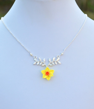 ATHENA Branch Drop Necklace in Yellow and Orange Daffodil