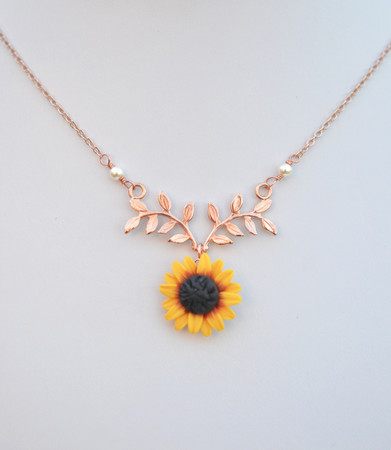 ATHENA Branch Drop Necklace in  Red and Yellow Sunflower
