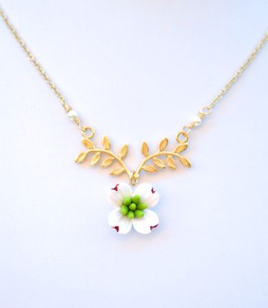 ATHENA Branch Drop Necklace in White Dogwood