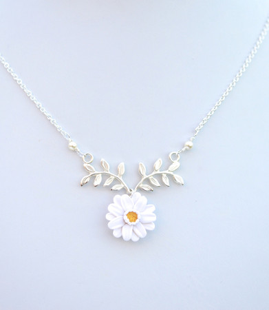 ATHENA Branch Drop Necklace in White Gerbera Daisy