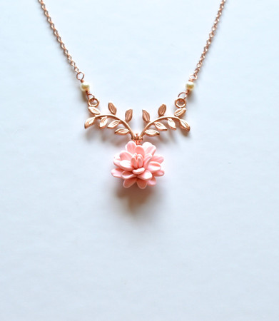 ATHENA Branch Drop Necklace in Pastel Blush Dahlia