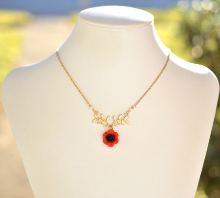 ATHENA Branch Drop Necklace in Red Anemone/Poppy