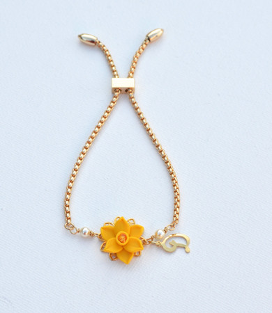 DARLENE Adjustable Bracelet in  Yellow Daffodil with Initial