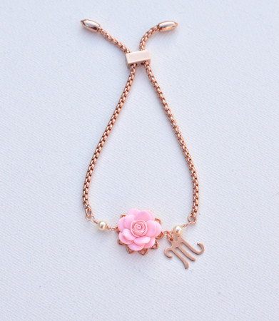 DARLENE Adjustable Sliding in Blush Pink Rose with Initial