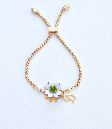 DARLENE Adjustable Sliding Bracelet in White  Dogwood with Initial