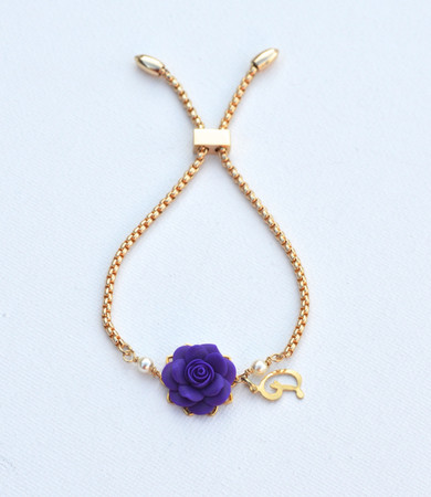 DARLENE Adjustable Sliding Bracelet in Deep Purple Rose