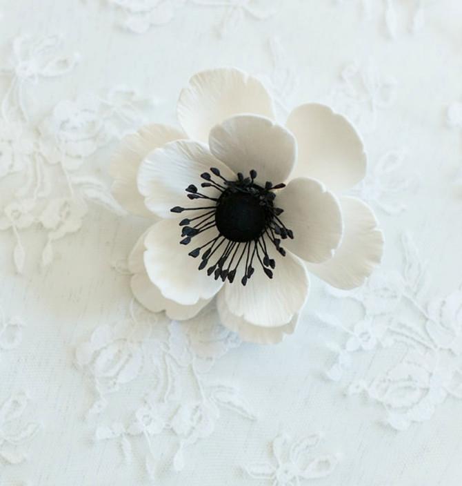 Large Black and White Anemone/ White Poppy Hair Clip