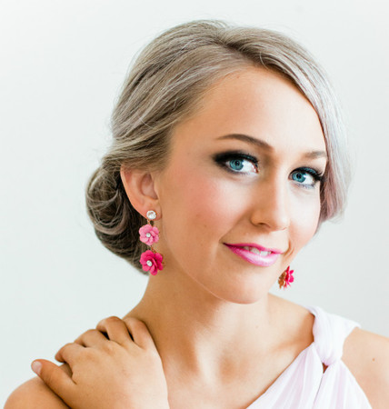 Zahra Statement Earrings in Pink Sakura Blossom/ Cherry Blossom