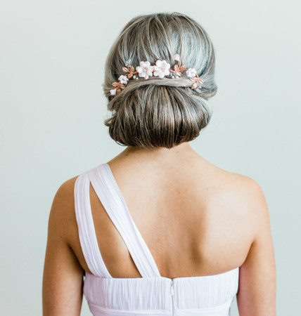 Cassandra Hair Comb in Blush Garden Rose